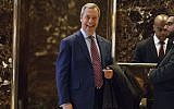 In this Saturday, Nov. 12, 2016, file photo, U.K. Independence Party leader Nigel Farage smiles as he arrives at Trump Tower, in New York. (AP Photo/ Evan Vucci, File)