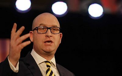 Paul Nuttall gestures after being announced as the new leader of the UK Independence Party in London, November 28, 2016. (AP/Alastair Grant)