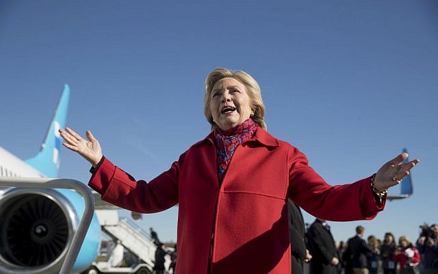 Democratic presidential candidate Hillary Clinton speaks to members of the media before boarding her campaign plane at Westchester County Airport in White Plains, N.Y., November 7, 2016. (AP/Andrew Harnik)