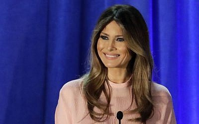 In this Nov. 3, 2016 file photo, Melania Trump, wife of Republican presidential candidate Donald Trump, speaks in Berwyn, Pa.  (AP Photo/Patrick Semansky, File)