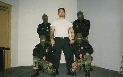 Christian Picciolini and his band Final Solution in masks in the early 1990s. (Courtesy)