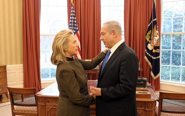 Prime Minister Benjamin Netanyahu with of State Hillary Clinton at the White House in 2012 (Amos Ben Gershom/GPO)