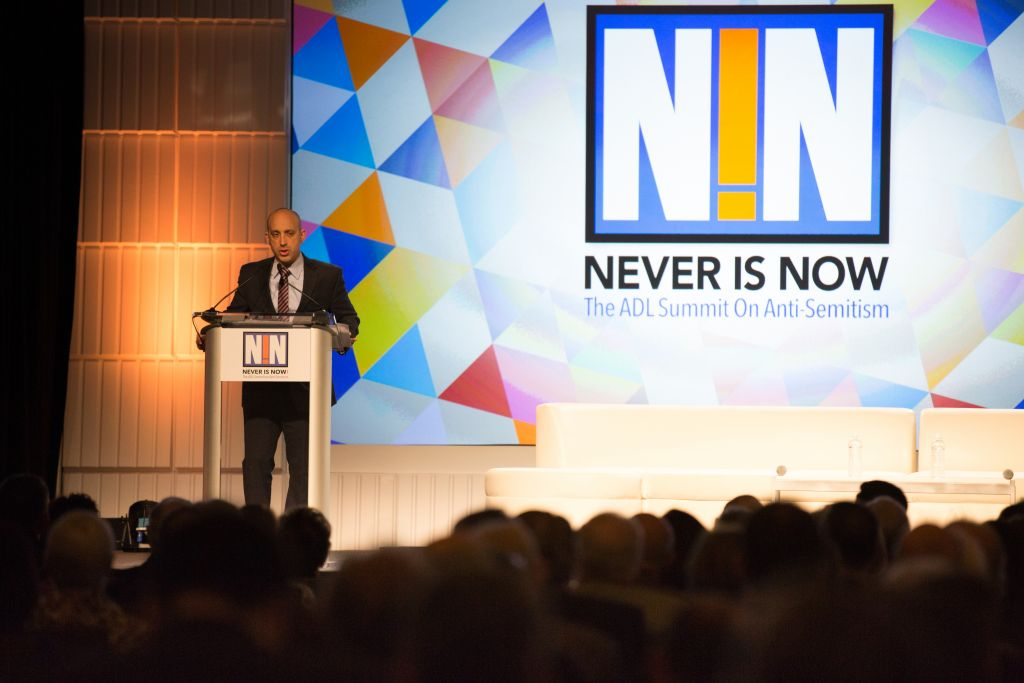 Jonathan Greenblatt, Anti-Defamation League CEO, delivering opening remarks at the ADL's summit on anti-Semitism. (Courtesy: Anti-Defamation League)