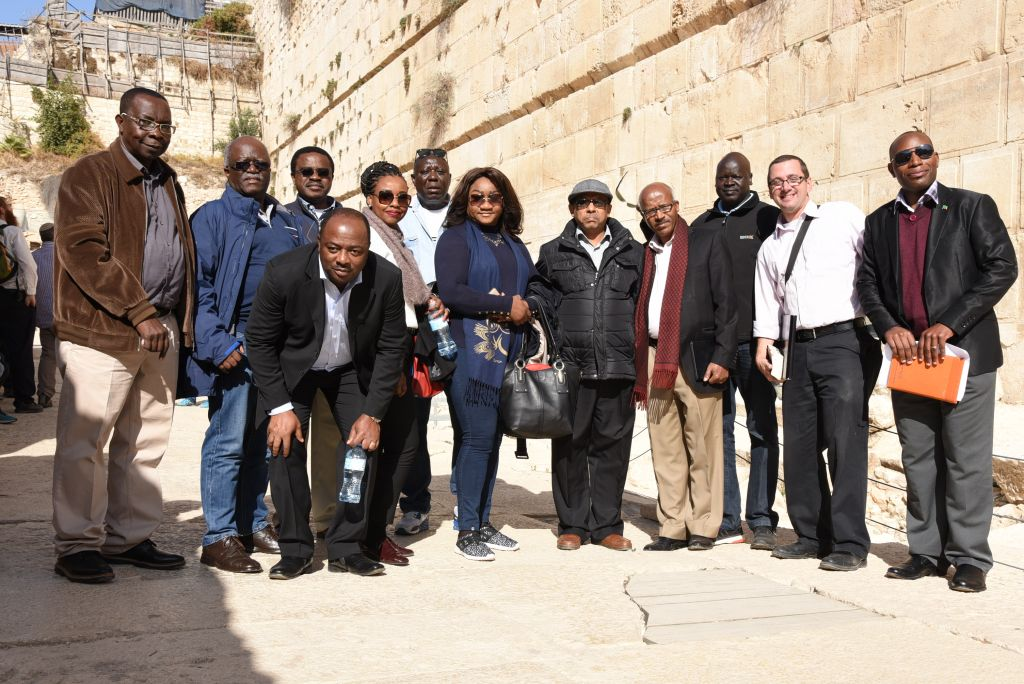 A group of 11 diplomats from seven African countries visited the area known as Robinson's Arch in the Old City of Jerusalem, November 28, 2016. Second from right is Ze'ev Orenstein of the City of David archeological park, who led the envoys' tour (Michel Rozili/City of David)