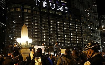 People gather in downtown Chicago as they protest the election of President-elect Donald Trump, Thursday, Nov. 10, 2016 (AP Photo/Nam Y. Huh)