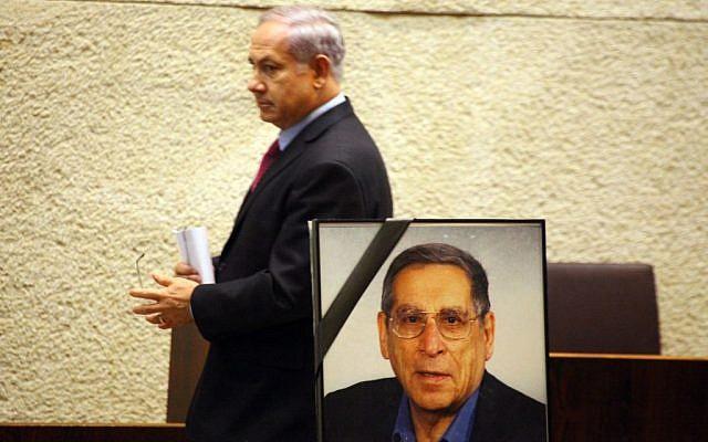 Prime Minister Benjamin Netanyahu at the Knesset memorial for assassinated Israeli politician Rehavam Ze'evi, October 12, 2010. (Abir Sultan/Flash 90)