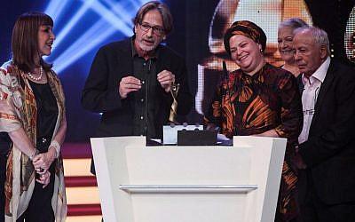 "Director Rama Burshtein receives the Ophir Award for Best Picture ""Fill the Void"" in Haifa, on September 21, 2012. (Avishag Shaar-Yashuv/Flash90)"