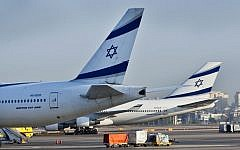 El Al airplanes on the tarmac at the Ben Gurion International Airport on August 14, 2012. (Moshe Shai/Flash90)