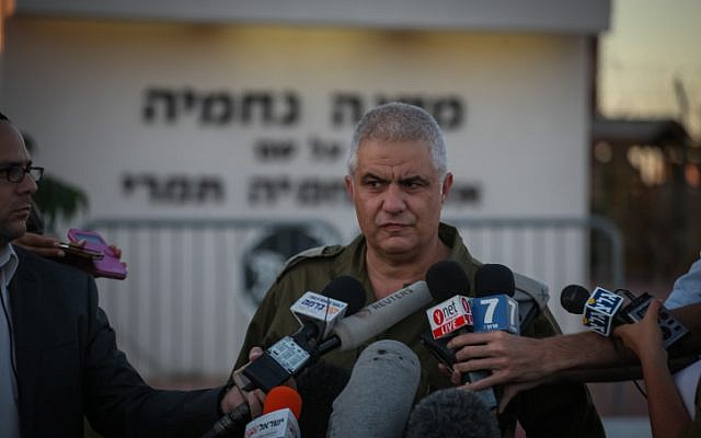 IDF Spokesperson Moti Almoz speaks to the press on June 15, 2014. (Flash90)