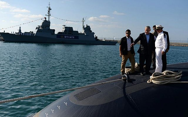 Benjamin Netanyahu touring the INS Tanin submarine, built by the German firm ThyssenKrupp, as it arrived in Israel on September 23, 2014. (Kobi Gideon/GPO/Flash90)