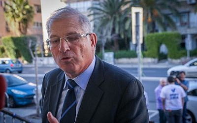 David Shimron seen at a Likud press conference in Tel Aviv on February 01, 2015. (Flash90)