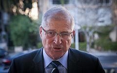 David Shimron, Prime Minister Benjamin Netanyahu's personal lawyer, at a Likud press conference in Tel Aviv, February 1, 2015. (Flash90)