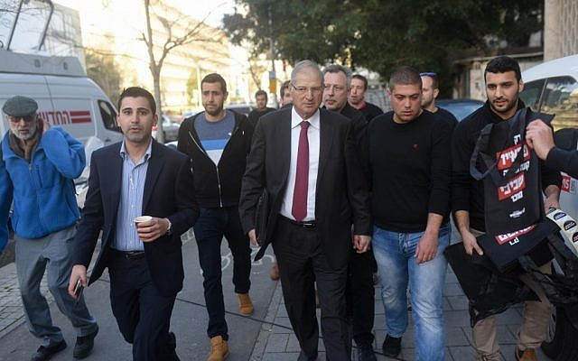David Shimron, Prime Minister Benjamin Netanyahu's personal lawyer, arriving at a Likud press conference in Tel Aviv, February 1, 2015. (Flash90)