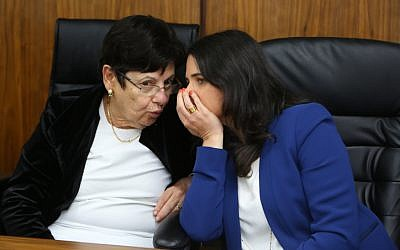 Justice Minister Ayelet Shaked with Supreme Court President Miriam Naor in the city of Beit Shemesh, on March 29, 2016 (Yaakov Lederman/Flash90)