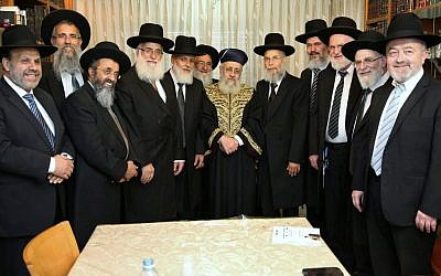 Sephardi Chief Rabbi Yitzhak Yosef meets with newly appointed Supreme Rabbinical Court judges in Jerusalem, July 13, 2016. (Photo by Yaacov Cohen/Flash90)