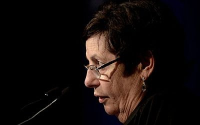Miriam Naor, President of the Supreme Court speaks during the ceremony for opening a new year of justice in Tel Aviv, on August 30, 2016. (Tomer Neuberg/Flash90)