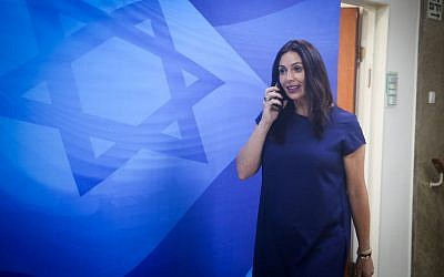 Culture Minister Miri Regev arrives for the weekly cabinet meeting at the Prime Minister's Office in Jerusalem, September 27, 2016. (Marc Israel Sellem/Pool)