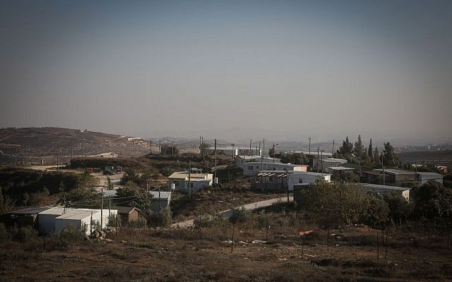 View of caravan homes at the Amona Jewish outpost in the West Bank, October 6, 2016. (FLASH90)