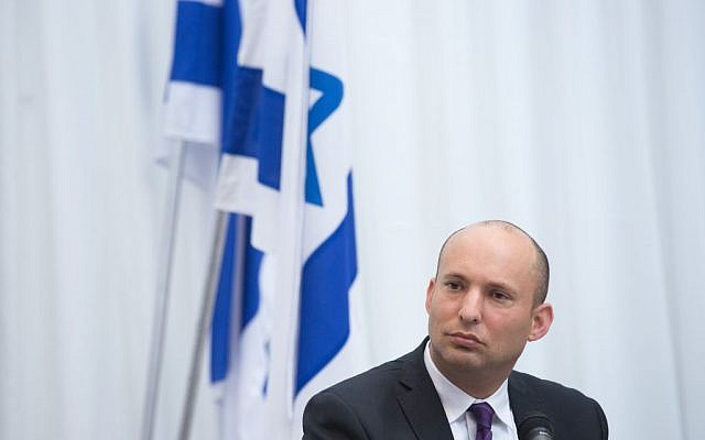 Jewish Home chair Naftali Bennett attends a committee meeting at the Ministry of Education in Jerusalem, October 25, 2016. (Miriam Alster/Flash90)