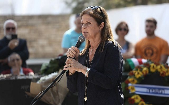 Dalia Rabin, daughter of late prime minister Yitzhak Rabin, at a memorial service marking 21 years since his assassination, held at Mount Herzl cemetery in Jerusalem, November 4, 2015. (Yonatan Sindel/Flash90)
