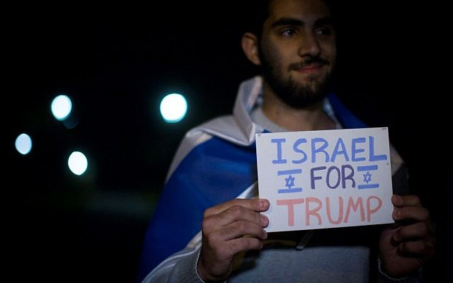 Israelis attend a demonstration in support of US Republican president candidate Dondald Trump, in Jerusalem on November 7, 2016. (Photo by Hadas Parush/Flash90)