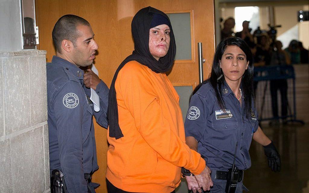 Asra Jabas at the District Court in Jerusalem on November 7, 2016 for a sentencing hearing. (Yonatan Sindel/Flash90)