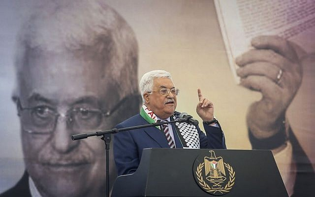 Palestinian President Mahmoud Abbas speaks during a rally marking the 12th anniversary of the death of Yasser Arafat in Ramallah November 10, 2016. (Flash90)