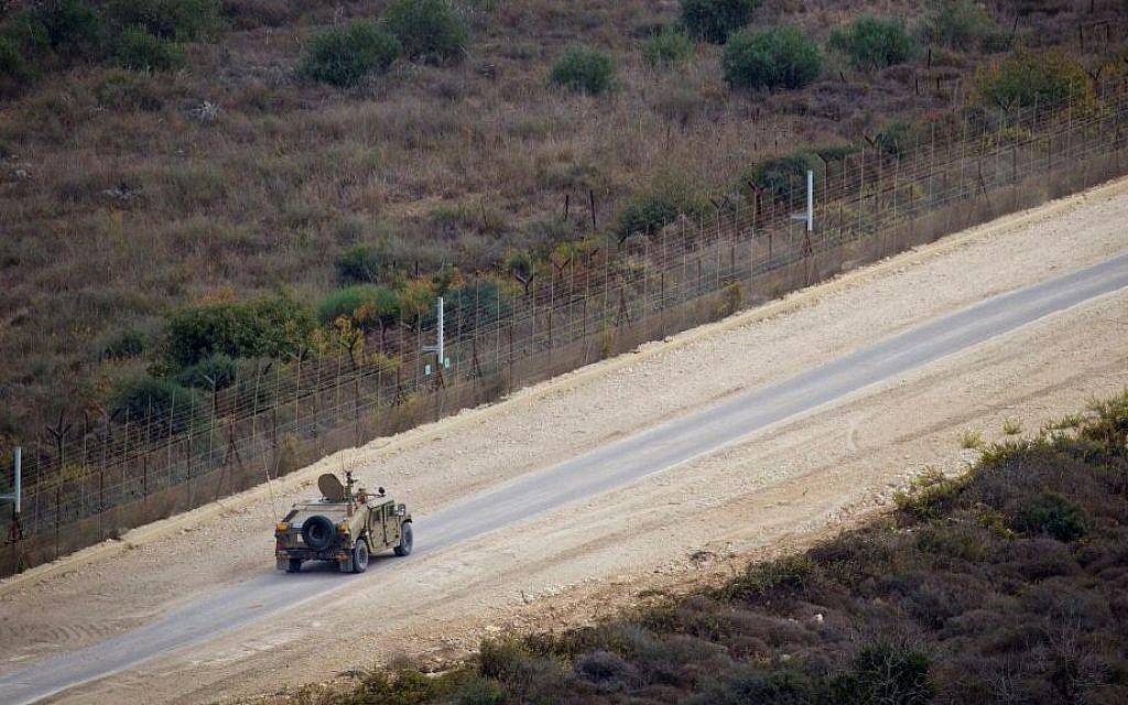 Illustrative: An Israeli patrol along the Lebanon/Israel border fence near Rosh Hanikra, on November 10, 2016. (Doron Horowitz/Flash90)