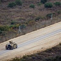 Illustrative: An Israeli patrol along the Lebanon/Israel border fence near Rosh Hanikra, on November 10, 2016. (Doron Horowitz/Flash90)