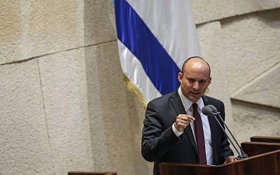 Education Minister Naftali Bennett speaks in the assembly hall of the Knesset, on November 13, 2016. (Miriam Alster/Flash90)