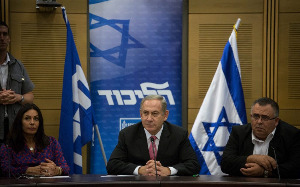 Prime Minister Benjamin Netanyahu seen during a Likud party faction meeting at the Knesset on November 14, 2016. (Hadas Parush/Flash90)