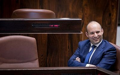 Education Minister Naftali Bennett during a plenum session in the Knesset, November 16, 2016. (Yonatan Sindel/Flash90)