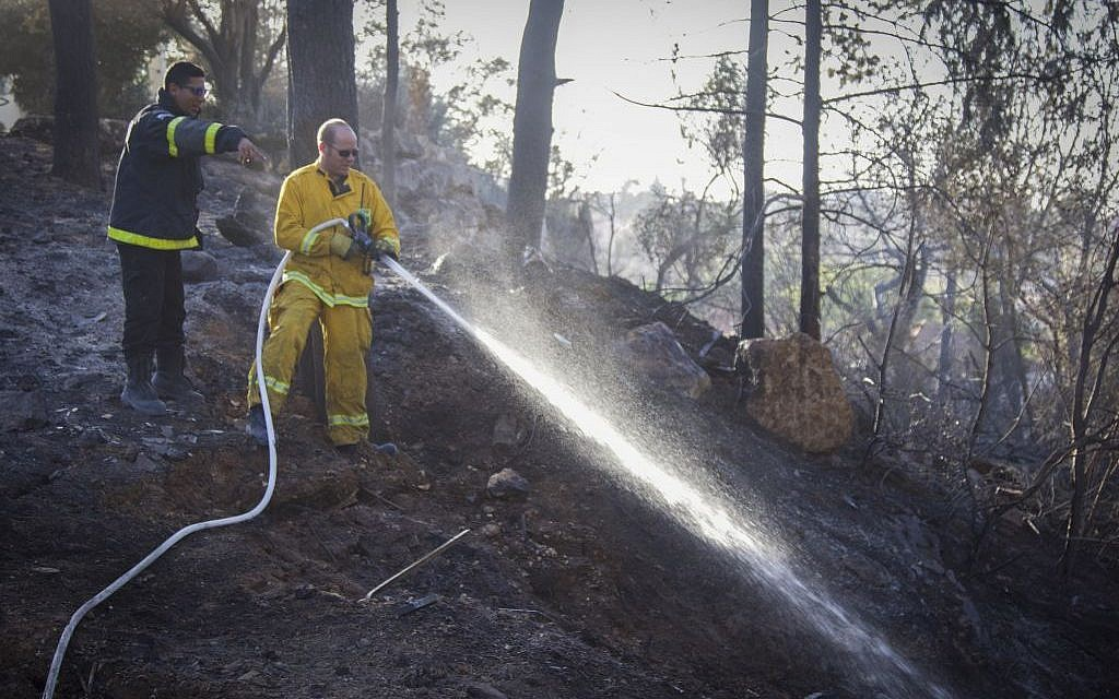 Fire fighters try to extinguish a fire which broke out yesterday in Zichron Yaakov, November 23, 2016. (Doron Horowitz/Flash90)