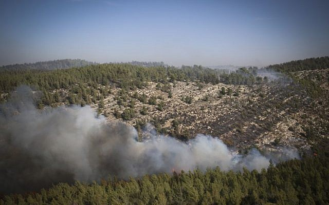 Israeli firefighter airplanes try to extinguish a forest fire which broke out in the forest near Neve Ilan, outside of Jerusalem on November 24, 2016. (Yonatan Sindel/Flash90)