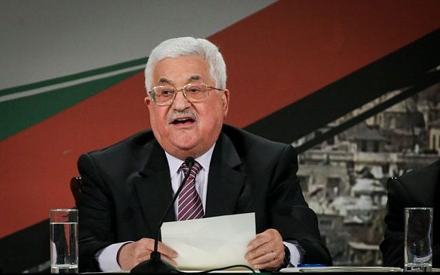 Palestinian Autjority President Mahmoud Abbas delivers a speech on the second day of the 7th Fatah Congress on November 30, 2016, at the Palestinian Authority headquarters,in the West Bank city of Ramallah. (FLASH90)