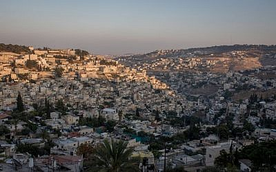 A view of East Jerusalem as the sun sets, August 8, 2016. (Zack Wajsgras/Flash90)