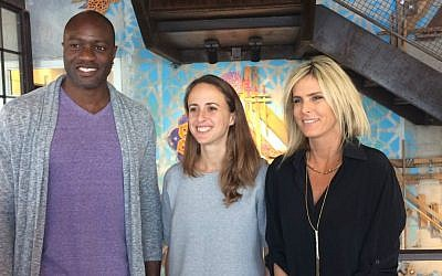 Facebook's Ime Archibong (left); Malvina Goldfeld (center) and Adi Soffer Teeni in Facebook's Tel Aviv office (Shoshanna Solomon/Times of Israel)