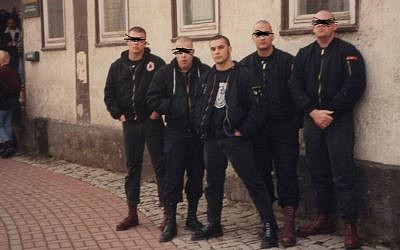 Christian Picciolini with his neo-Nazi hate rock group Final Solution in Weimar, Germany, 1992. (Courtesy)