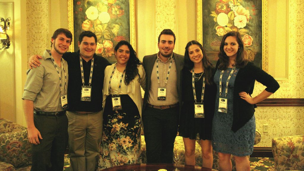 Many former Diller Teen Fellows alumni now have a professional relationship with the organization. From left, Julian Biller, Max Kasler, Moran Shevach, Oz Attar, Coral Sasson and Ilana White attend the Professional and Lay Leader Conference on November 2, 2016 in Morristown, New Jersey. (courtesy)