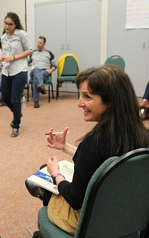 Ginette Searle, executive director of the Zionist Federation of Australia, participates in a workshop at the Diller Teen Fellows' Professional and Lay Leader Conference on November 2, 2016 in Morristown, New Jersey. (courtesy)