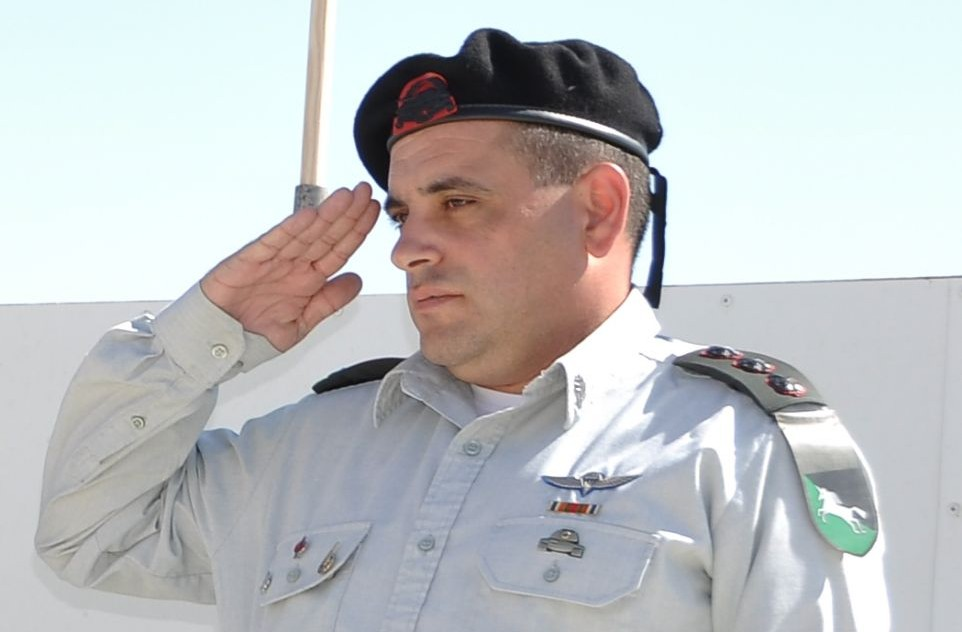 Then-Col. Guy Hasson salutes during a ceremony on August 23, 2012. (David Horesh/Wikimedia/CC BY-SA 3.0)