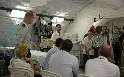 The IDF Medical Corps shows off its field hospital to a delegation from the World Health Organization, in an undated photograph. (IDF Spokesperson's Unit)