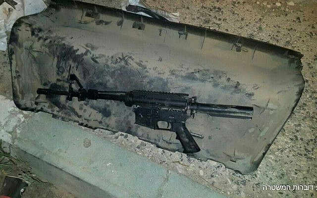 An M-16 found in the trunk of a car of a 21-year-old Nablus resident in the West Bank, November 17, 2016. (Courtesy)