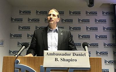 Daniel Shapiro, the US ambassador to Israel, speaking at the Institute for National Security Studies in Tel Aviv, Nov. 9, 2016. (Andrew Tobin/JTA)