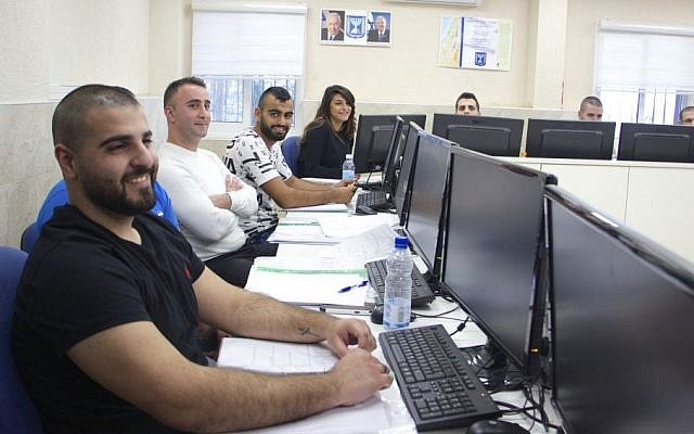 Arab students attend week-long training at police academy in Kiryat Ata to prepare for written exam to enter Israel's police force. (Dov Lieber / Times of Israel)