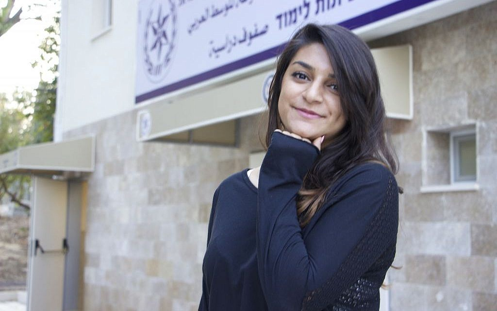 Katarina Abu Akell, a 20-year-old Christian from Kfar Yasif, is one of the many hundreds of young Arabs who have answered the call to join Israel's police force since September, 2016.  (Dov Lieber / Times of Israel)