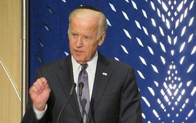 Vice President Joe Biden addressing a memorial for Shimon Peres in Washington, DC, October 6 2016. (Ron Kampeas)