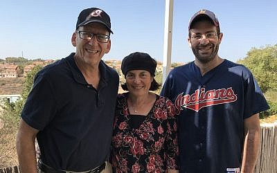 From left, Doug Mandel, Iris Mandel and Mitch Mandel at their house in the West Bank settlement of Karnei Shomron, Oct. 28, 2016. (JTA/Andrew Tobin)