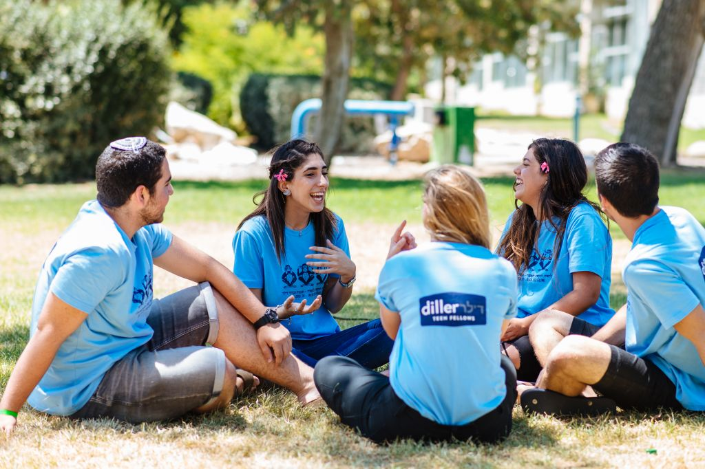 Diller Teen Fellows speak with teen leaders from around the world during their summer conference in Israel. (courtesy)