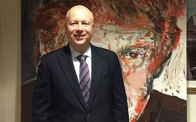 Jason Greenblatt, President Donald Trump's adviser on Israel, and an Orthodox Jew, in a conference room at Trump world headquarters in Manhattan. (Uriel Heilman/JTA)